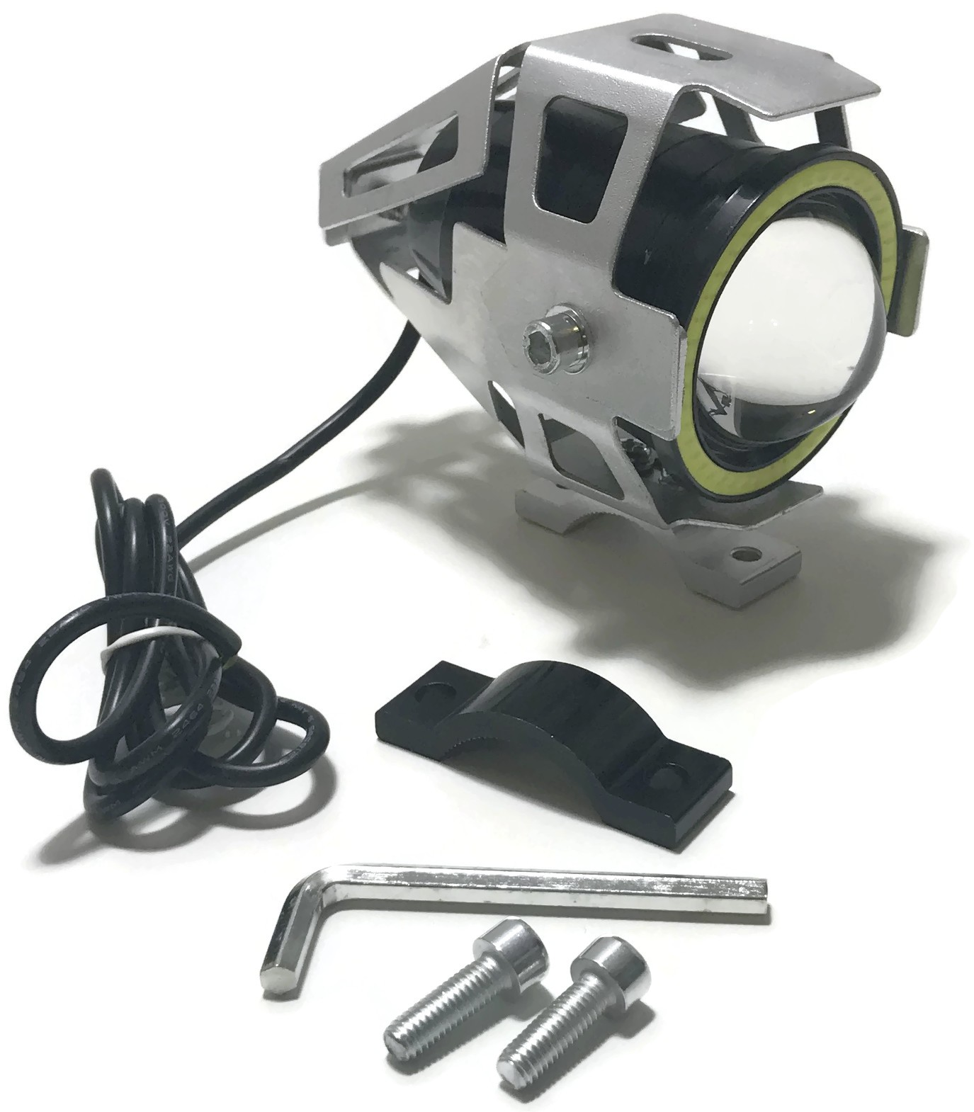 LAMPA LED CREE SOCZEWKA U7 RING COB MOTO 12V 24V SREBRNA