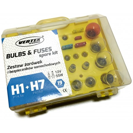 ZESTAW ŻARÓWEK I BEZPIECZNIKÓW H1 + H7 12V 19el