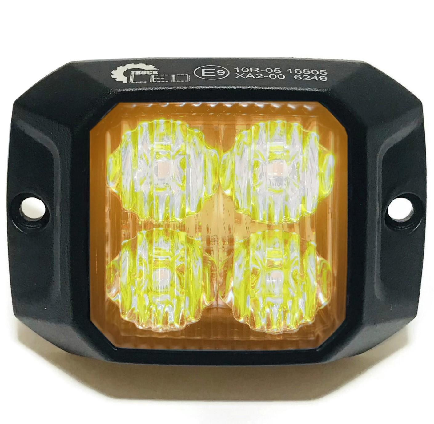 LAMPA OSTRZEGAWCZA 4 LED ŻÓŁTA STROBOSKOP KWADRAT