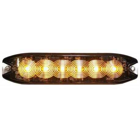 LAMPA OSTRZEGAWCZA 6 LED SLIM STROBOSKOP POMARAŃCZ
