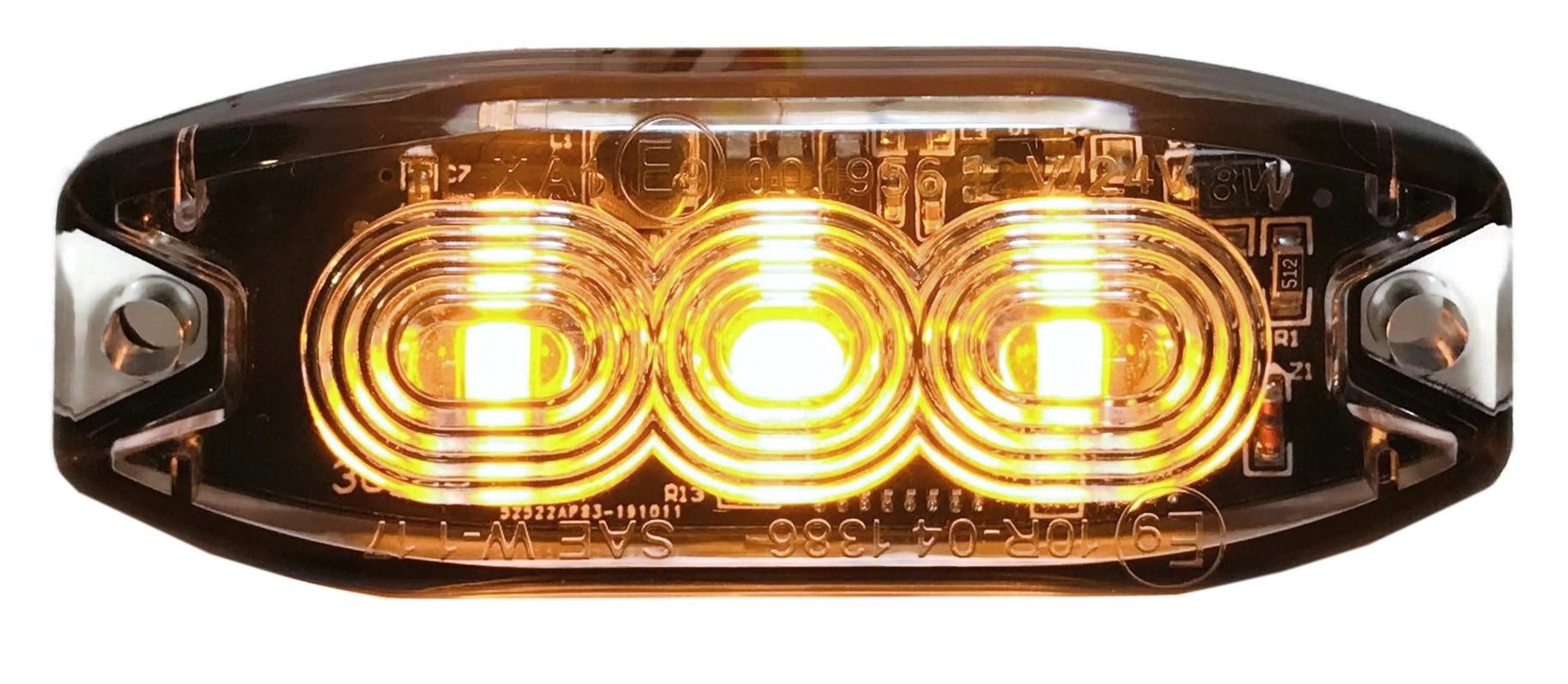 STROBOSKOP 3 LED LAMPA OSTRZEGAWCZA ZABUDOWY ŻÓŁTA