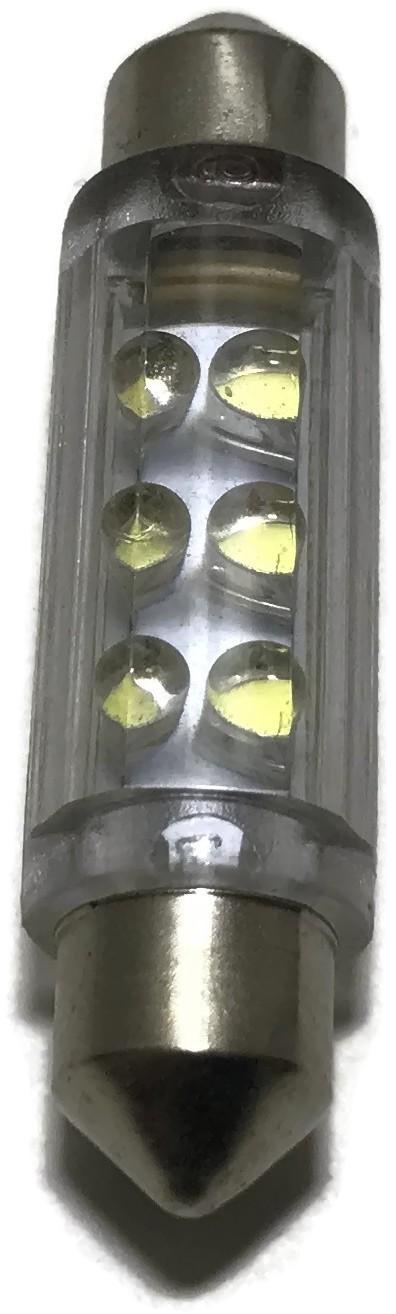 ŻARÓWKA LED RURKOWA C10W 42MM RURKA NIEBIESKA 12V